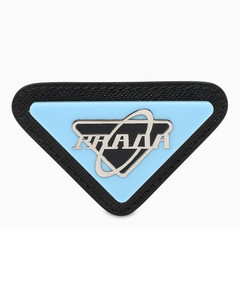 Triangular brooch with light-blue logo