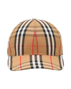 Vintage Check Print Canvas Baseball Hat