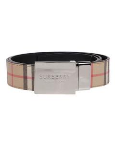 Vintage check and black reversible belt